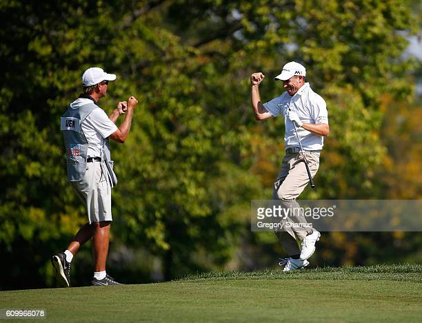 Steven Alker of New Zealand reacts to his eagle in the 16th fairway during the second round of the Webcom Tour Nationwide Children's Hospital...