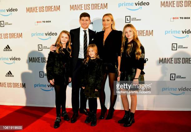 Steven and Alex Gerrard and their daughters Lourdes, Lexie and Lilly-Ella arrive at the Premiere of 'Make Us Dream' at FACT on November 15, 2018 in...