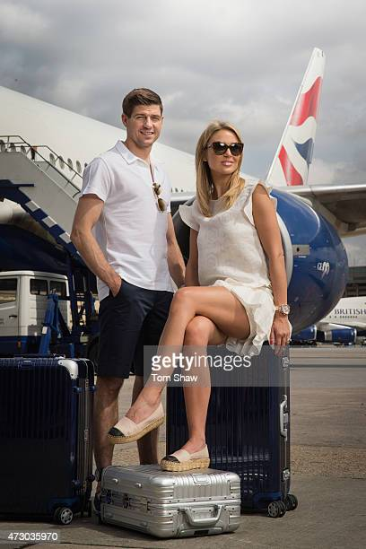 Steven and Alex Gerrard pose for a picture on a BA777 aircraft to launch British Airways Caribbean Campaign on May 11 2015 in London England Alex is...