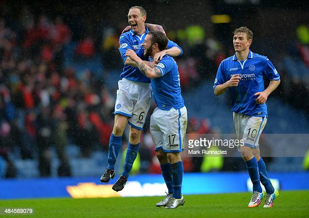 Steven Anderson Steven May and David Wotherspoon of St Johnstone celebrate their teams famous win during the William Hill Scottish Cup Semi Final...