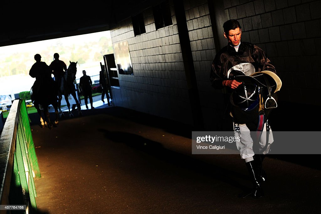 Steven Arnold after riding in Race 1 during Manikato Stakes Night at Moonee Valley Racecourse on October 24, 2014 in Melbourne, Australia.