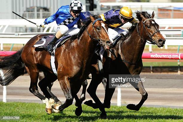 Steven Arnold riding Merion defeats Glen Boss riding Chivalry in Race 4 the Living Legends Stakes during Melbourne Racing at Flemington Racecourse on...