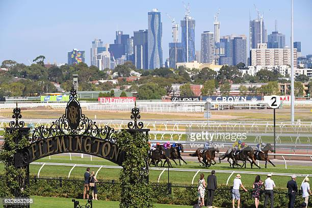 Steven Arnold riding Mubakkir winning Race 8 during Melbourne Racing at Flemington Racecourse on January 28 2017 in Melbourne Australia