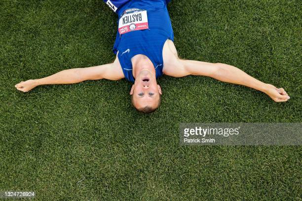 Steven Bastien reacts after the Men's 1500 meter on day three of the 2020 U.S. Olympic Track & Field Team Trials at Hayward Field on June 20, 2021 in...
