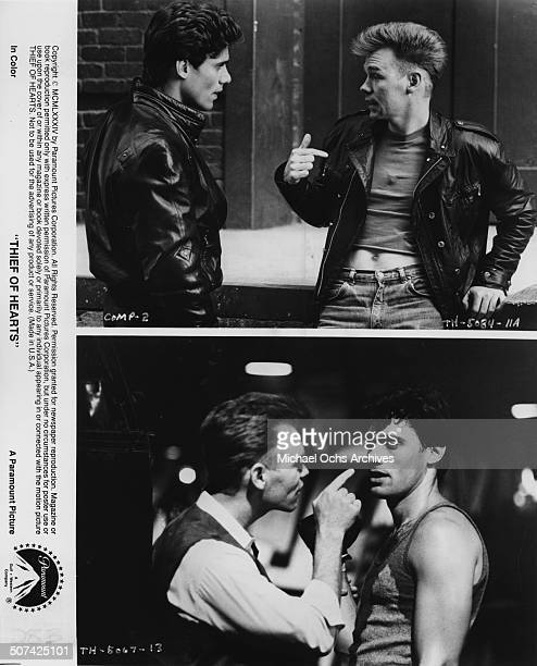 Steven Bauer and David Caruso are partners in crime as they argue in a scene from the Paramount Pictures movie 'Thief of Hearts' circa 1984