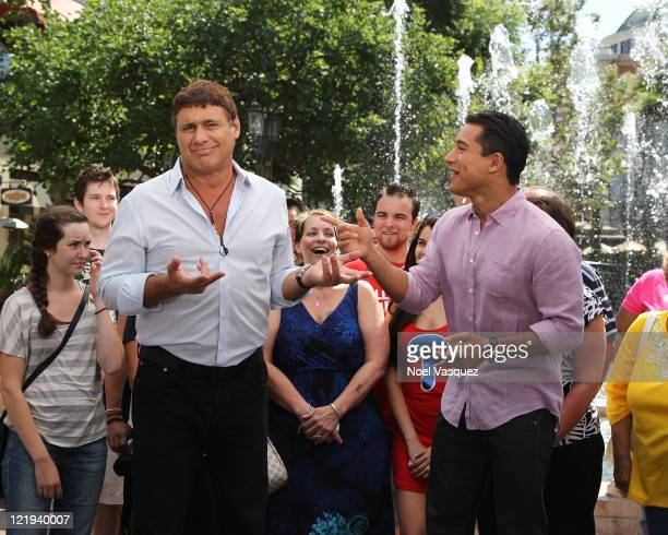 Steven Bauer and Mario Lopez visit Extra at The Grove on August 23 2011 in Los Angeles California