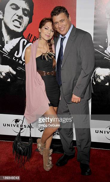 "Steven Bauer and Nadia Lanfranconi arrive at the launch of ""Scarface"" on Blu-Ray at the Belasco Theater on August 23, 2011 in Los Angeles, California."