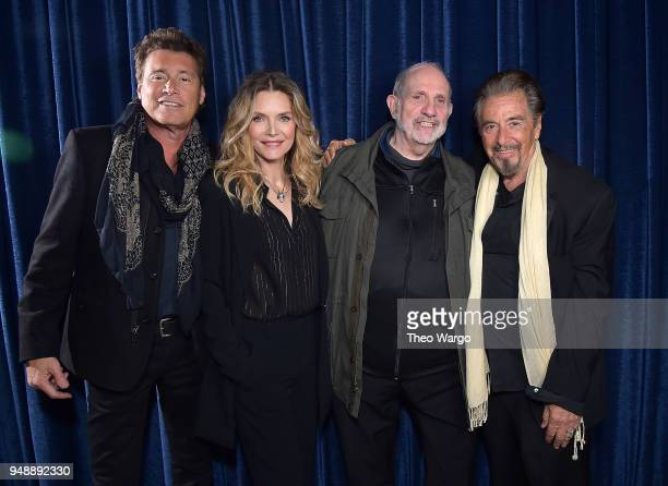 Steven Bauer Michelle Pfeiffer Brian De Palma and Al Pacino attend the 'Scarface' 35th Anniversary Cast Reunion 2018 Tribeca Film Festival at Beacon...