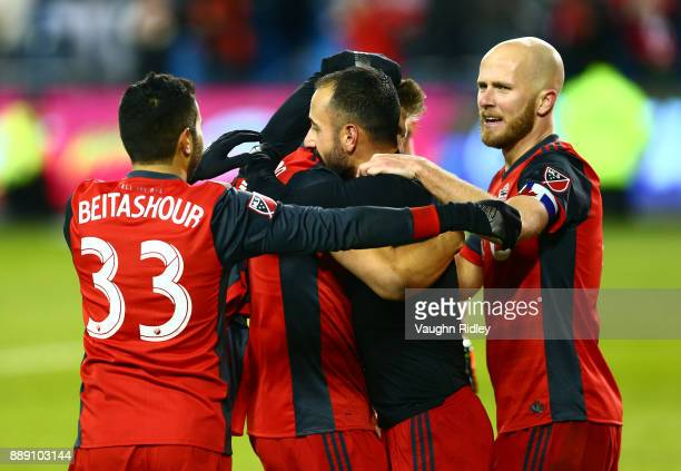 Steven Beitashour and Michael Bradley of Toronto FC celebrate their second goal by Victor Vazquez during the second half of the 2017 MLS Cup Final...