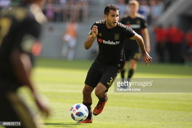 Steven Beitashour of the Los Angeles Football Club dribbles down the field at Banc of California Stadium on July 15 2018 in Los Angeles California