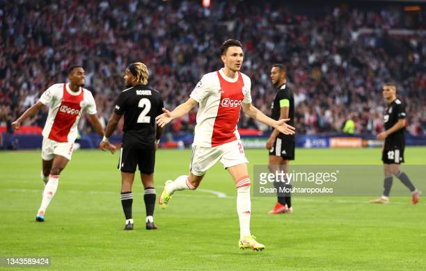 Steven Berghuis of Ajax celebrates after scoring their sides first goal during the UEFA Champions League group C match between AFC Ajax and Besiktas...