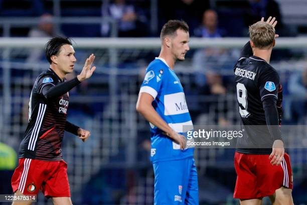 Steven Berghuis of Feyenoord celebrates 0-1 with Nicolai Jorgensen of Feyenoord during the Dutch Eredivisie match between PEC Zwolle v Feyenoord at...