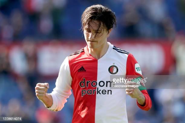 Steven Berghuis of Feyenoord celebrates 1-1 during the Dutch Eredivisie match between Feyenoord v Fc Twente at the Stadium Feijenoord on September...