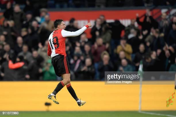 Steven Berghuis of Feyenoord celebrates 20 during the Dutch Eredivisie match between Feyenoord v ADO Den Haag at the Stadium Feijenoord on January 28...