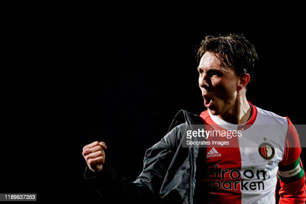 Steven Berghuis of Feyenoord celebrates the victory during the Dutch KNVB Beker match between SC Cambuur v Feyenoord at the Cambuur Stadium on...