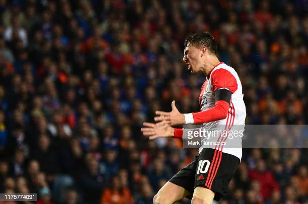 Steven Berghuis of Feyenoord reacts during the UEFA Europa League group G match between Rangers FC and Feyenoord at Ibrox Stadium on September 19...