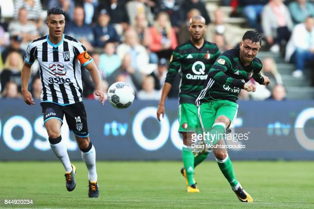 Steven Berghuis of Feyenoord shoots and scores a goal during the Dutch Eredivisie match between Heracles Almelo and Feyenoord Rotterdam held at...