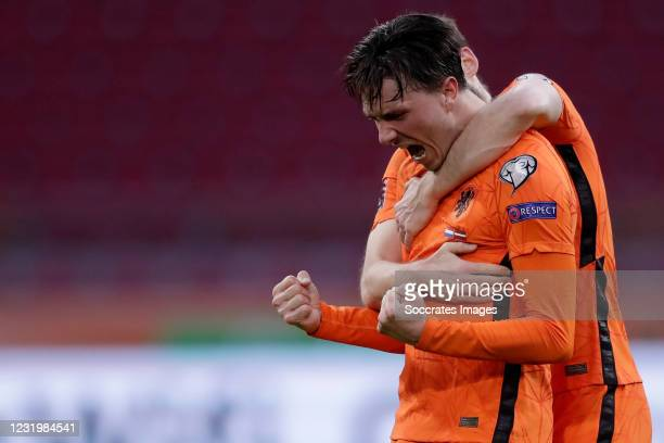 Steven Berghuis of Holland Celebrates 1-0 during the World Cup Qualifier match between Holland v Latvia at the Johan Cruijff Arena on March 27, 2021...