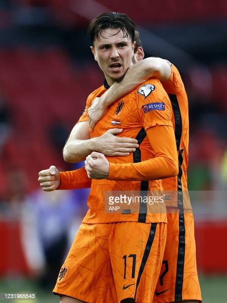 Steven Berghuis of Holland celebrates the 1-0 during the World Cup qualifying match between the Netherlands and Latvia at the Johan Cruijff Arena on...