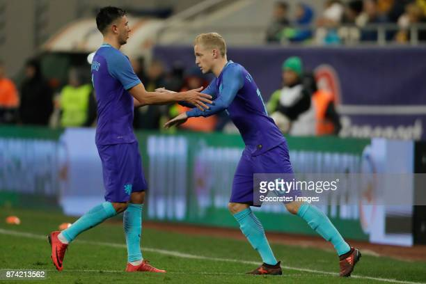 Steven Berghuis of Holland Donny van de Beek of Holland during the International Friendly match between Romania v Holland at the Arena Nationala on...