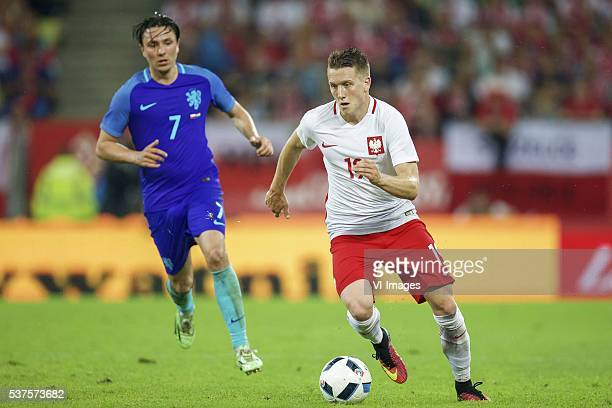 Steven Berghuis of Holland Piotr Zielinski of Poland during the International friendly match between Poland and Netherlands on June 1 2016 at the...