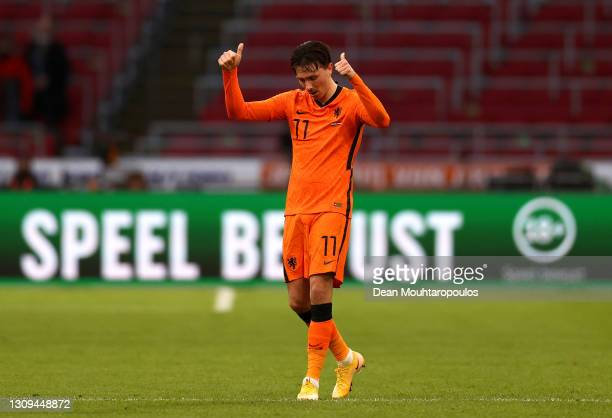 Steven Berghuis of Netherlands celebrates after scoring their team's first goal during the FIFA World Cup 2022 Qatar qualifying match between the...