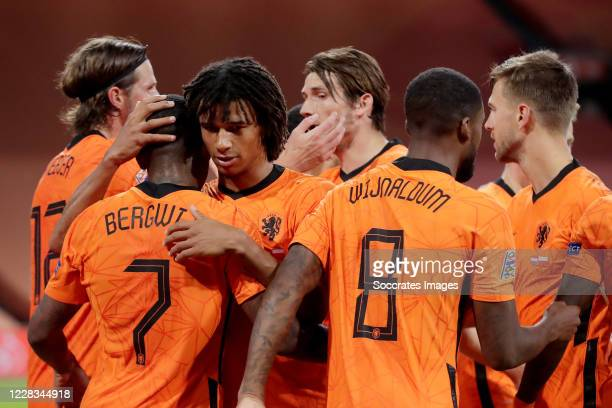 Steven Bergwijn of Holland celebrates 1-0 with Nathan Ake of Holland, Georginio Wijnaldum of Holland, Joel Veltman of Holland during the UEFA Nations...