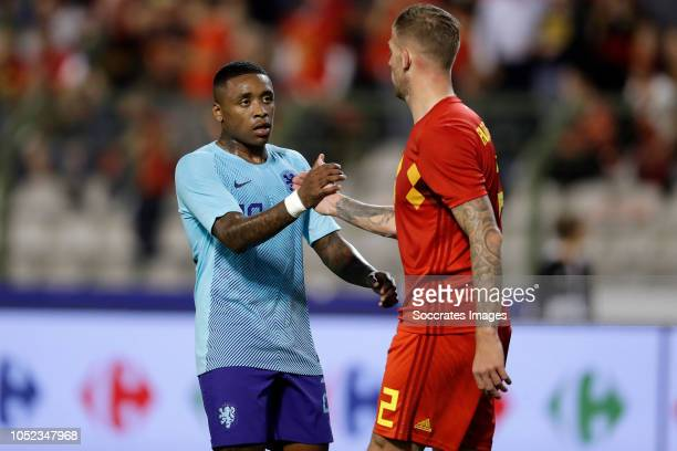 Steven Bergwijn of Holland Toby Alderweireld of Belgium during the International Friendly match between Belgium v Holland on October 16 2018