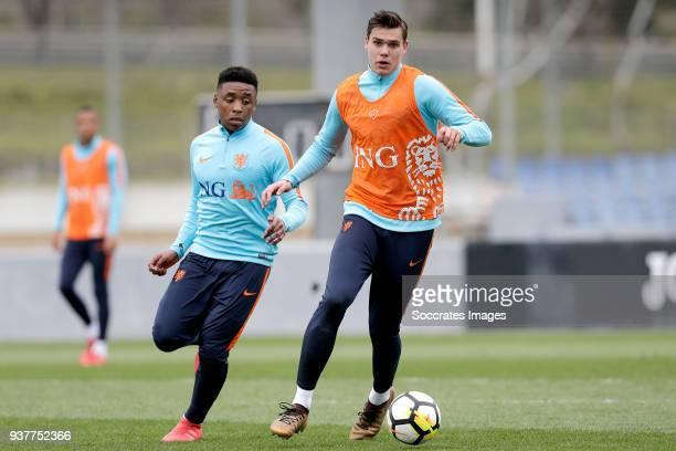 Steven Bergwijn of Holland U21 Justin Hoogma of Holland U21 during the Training Holland U21 at the Ciutat Esportiva Dani Jarque on March 25 2018 in...