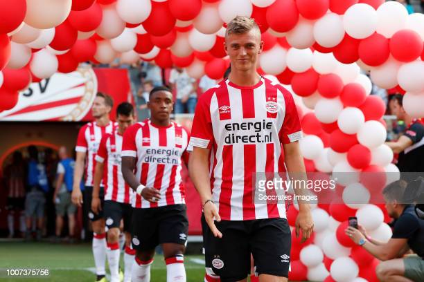 Steven Bergwijn of PSV Albert Gudmundsson of PSV during the Club Friendly match between PSV v Valencia at the Philips Stadium on July 28 2018 in...