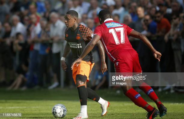 , Steven Bergwijn of PSV, Alexandre Song of FC Sion during the Pre-season Friendly match between FC Sion v PSV Eindhoven at Stade Saint-Marc on July...
