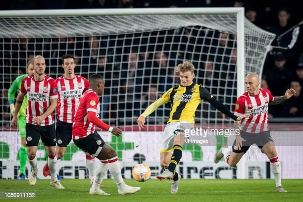 Steven Bergwijn of PSV Martin Odegaard of Vitesse Jos çngel Tasende Angelino of PSV during the Dutch Eredivisie match between PSV Eindhoven and...