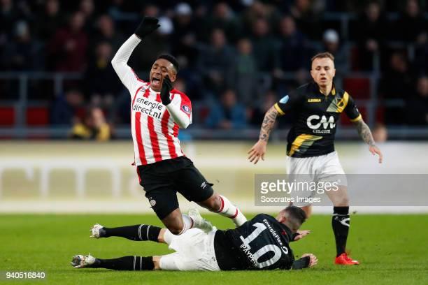 Steven Bergwijn of PSV Rai Vloet of NAC Breda during the Dutch Eredivisie match between PSV v NAC Breda at the Philips Stadium on March 31 2018 in...