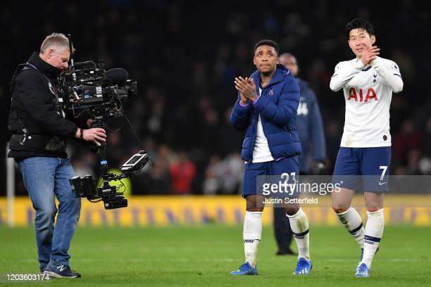 Steven Bergwijn of Tottenham Hotspur and Son HeungMin of Tottenham Hotspur celebrate after the Premier League match between Tottenham Hotspur and...