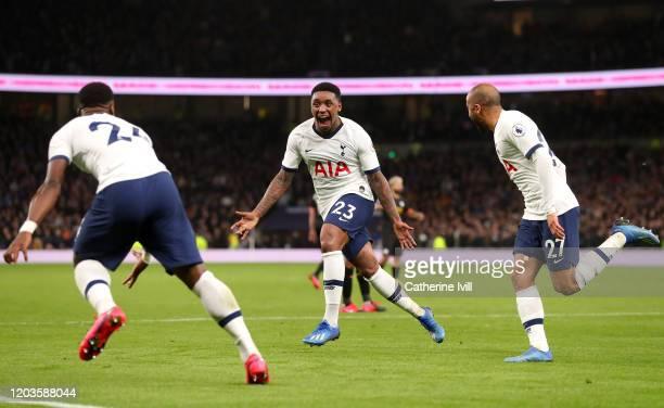 Steven Bergwijn of Tottenham Hotspur celebrates after scoring his team's first goal during the Premier League match between Tottenham Hotspur and...