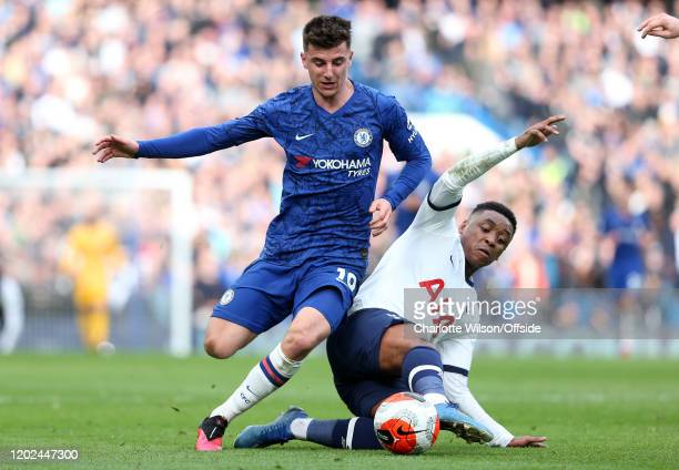 Steven Bergwijn of Tottenham tackles Mason Mount of Chelsea during the Premier League match between Chelsea FC and Tottenham Hotspur at Stamford...
