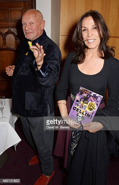 Steven Berkoff and Olivia Harrison attend an after party celebrating the press night performance of 'Benvenuto Cellini' directed by Terry Gilliam for...