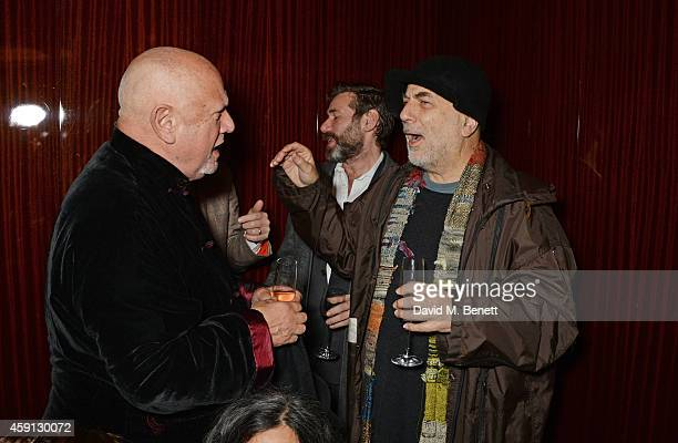 Steven Berkoff and Ron Arad attend the Liberatum Cultural Honour for Francis Ford Coppola at The Bulgari Hotel on November 17 2014 in London England