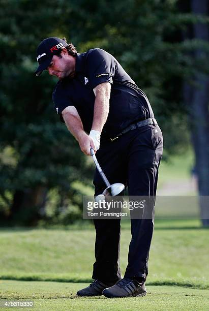 Steven Bowditch of Australia hits a tee shot on the 12th hole during Round Three of the ATT Byron Nelson at the TPC Four Seasons Resort Las Colinas...