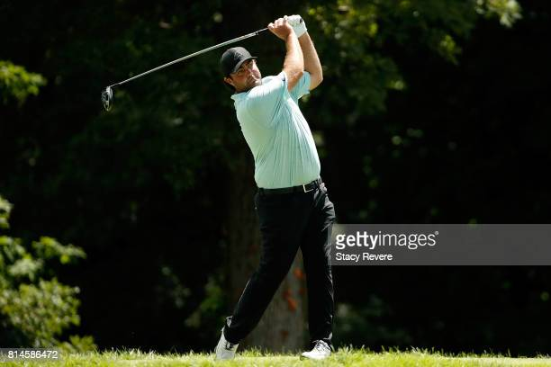 Steven Bowditch of Australia hits his tee shot on the 13th hole during the second round of the John Deere Classic at TPC Deere Run on July 14 2017 in...