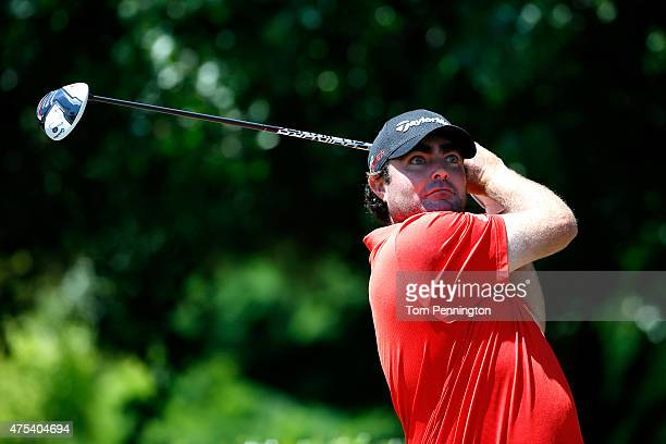 Steven Bowditch of Australia hits his tee shot on the first hole during the Final Round of the ATT Byron Nelson at the TPC Four Seasons Resort Las...