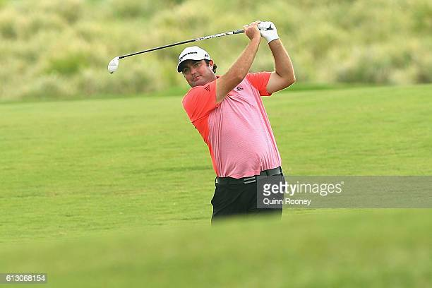 Steven Bowditch of Australia plays an approach shot during day two of the 2016 Fiji International at Natadola Bay Golf Course on October 7 2016 in...