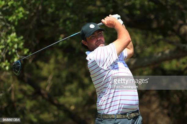 Steven Bowditch of Australia plays his shot from the 14th tee during the first round of the Valero Texas Open at TPC San Antonio ATT Oaks Course on...
