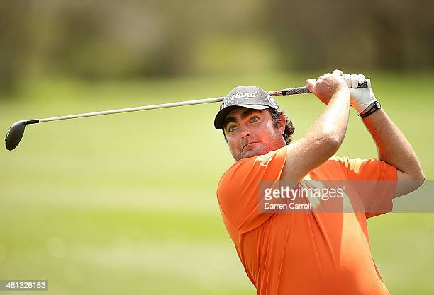 Steven Bowditch plays his shot on the 8th during Round Three of the Valero Texas Open at TPC San Antonio ATT Oaks Course on March 29 2014 in San...