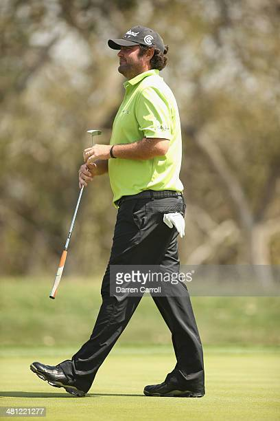 Steven Bowditch plays his shot on the 9th during Round Two of the Valero Texas Open at TPC San Antonio ATT Oak Course on March 28 2014 in San Antonio...