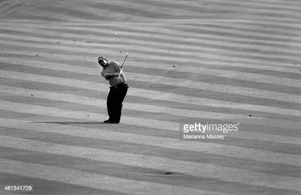 Steven Bowditch takes his shot on the 18th during Round Three of the Valero Texas Open at TPC San Antonio ATT Oaks Course on March 29 2014 in San...
