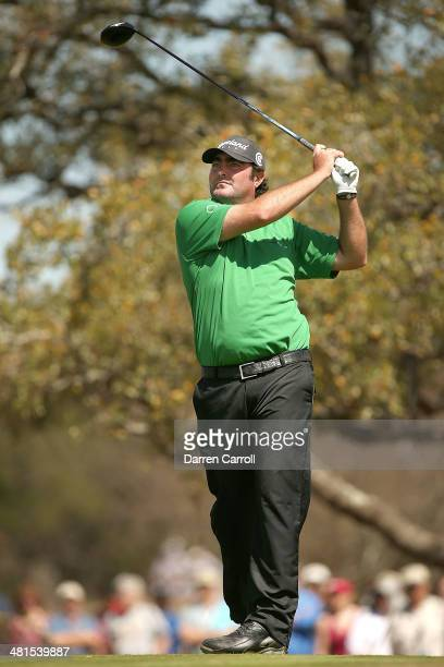 Steven Bowditch tees off on the 2nd during the Final Round of the Valero Texas Open at TPC San Antonio ATT Oaks Course on March 30 2014 in San...