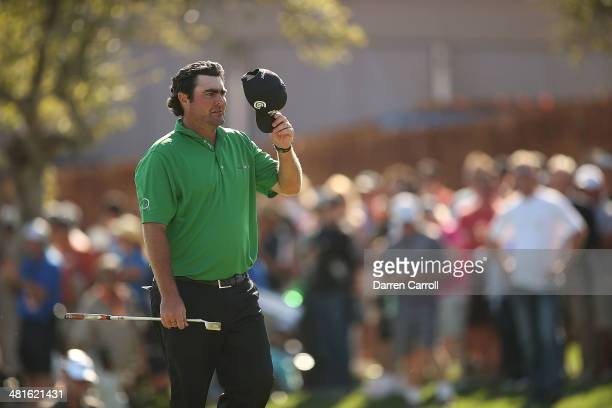 Steven Bowditch tips his hat to the crowd after putting and winning during the Final Round of the Valero Texas Open at TPC San Antonio ATT Oaks...