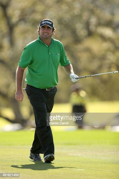 Steven Bowditch walks up the 18th during the Final Round of the Valero Texas Open at TPC San Antonio ATT Oaks Course on March 30 2014 in San Antonio...