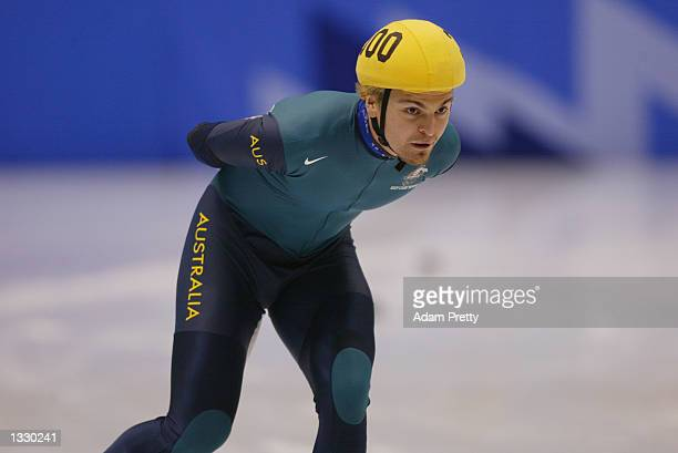 Steven Bradbury of Australia competes in the men's 5000m relay during the Salt Lake City Winter Olympic Games on February 23 2002 at the Salt Lake...